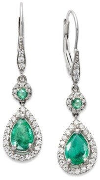 Macy's Sapphire (1-3/8 ct. t.w.) and Diamond (1/3 ct. t.w.) Pear Drop Earrings in 14k White Gold (Also Available in Emerald and Ruby)