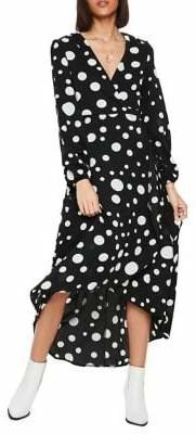 Missguided Polka Dot High-Low Wrap Dress