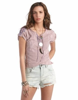 Free People Strawberry Fields Punched Eyelet Tee