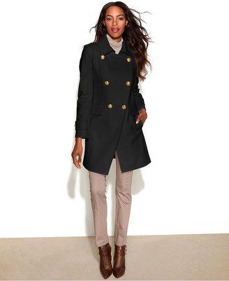 DKNY Double-Breasted Wool-Blend Cutaway-Hem Coat
