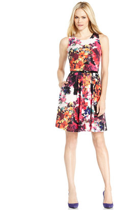 Jessica Simpson Sleeveless Floral-Print Belted A-Line Dress