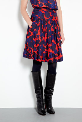 Marc by Marc Jacobs Onyx Floral A-line Silk Skirt