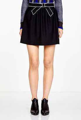 RED Valentino Black A-line Skirt With Ivory Trim