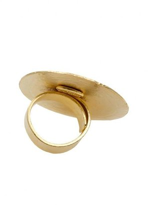 Soixante Neuf 14k Gold Large Round Ring with Design in Gold -