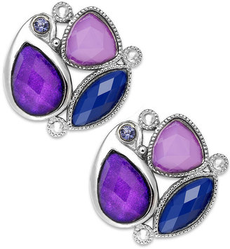Style&Co. Earrings, Rhodium-Plated Purple Stone Button Earrings