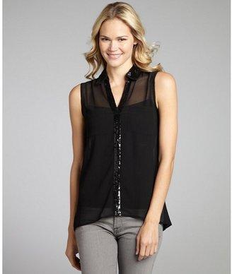 RD Style black chiffon sequin trim sleeveless blouse