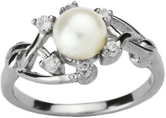 Dahlia Entwining Vine Cultured Pearl Cubic Zirconia Silver Ring, White (Size 9)