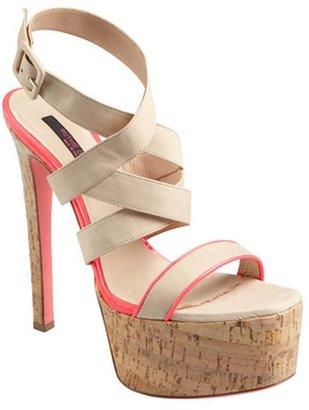 Ruthie Davis nude and neon pink leather 'Highline' cork platform sandals
