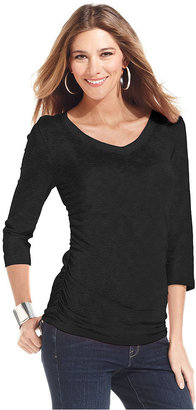 Style&Co. Top, Three-Quarter-Sleeve Heathered V-Neck