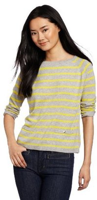 Autumn Cashmere Women's Pencil Stripe Boxy Crew With Pockets Sweater