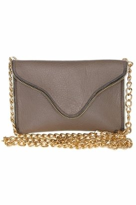JJ Winters Leather Chain Strap Clutch with Zipper Edging in Taupe Suede