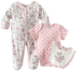 Vitamins Baby Baby-girls Newborn Butterflies and Flowers 3 Piece Footed Coverall Set