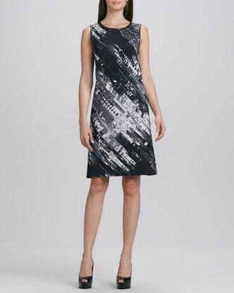DKNY Sleeveless Abstract-Print Shift Dress