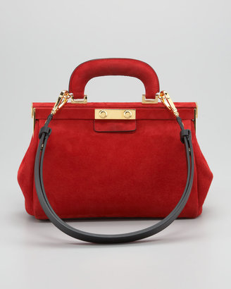Marni Suede Top-Handle Satchel Bag
