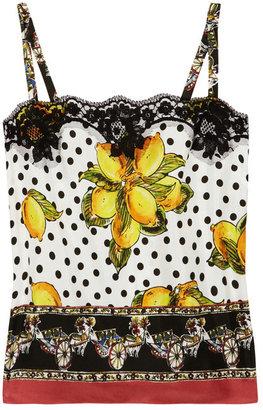 Dolce & Gabbana Lace-trimmed printed silk-satin camisole