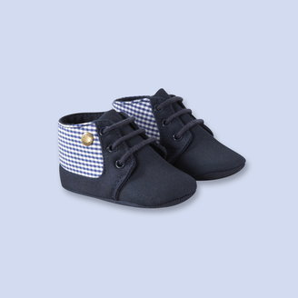 Jacadi Gingham trimmed booties