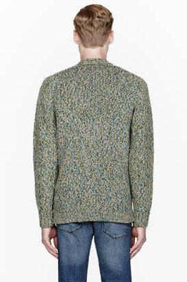 Paul Smith Green Multicolor Knit Cardigan