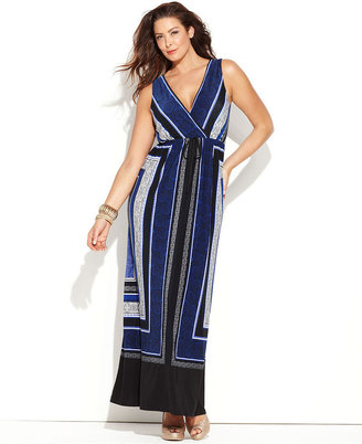 INC International Concepts Plus Size Dress, Sleeveless Surplice Scarf-Print Maxi
