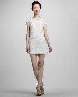 Catherine Malandrino Cap-Sleeve Nylon Fishnet Dress