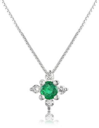 Diamond and Emerald Flower 18K Gold Pendant Necklace