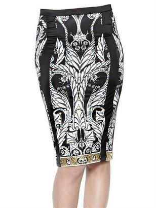Just Cavalli Deco Flower Print Stretch Satin Skirt