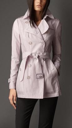 Burberry Short Cotton Silk Trench Coat