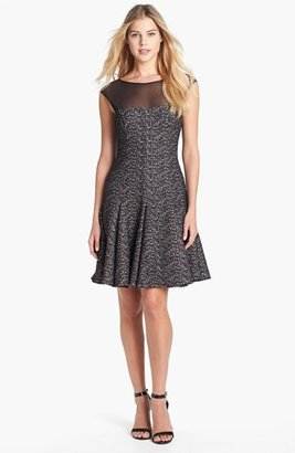 Maggy London Metallic Tweed Fit & Flare Dress