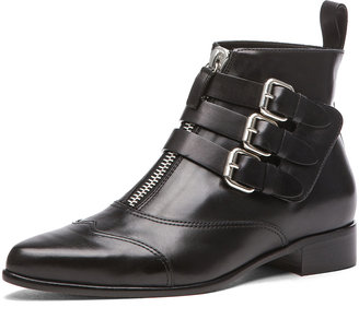 Tabitha Simmons Early Calfskin Leather Booties with Buckles in Black Calf