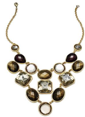 INC International Concepts Gold-Tone Multistone Bib Necklace