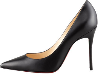 Christian Louboutin Decollette Pointed-Toe Red Sole Pump, Black