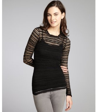 Isabel Marant black stretch cotton open knit 'Julia' top