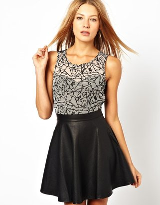 Motel Bunny Dress with PU Skirt