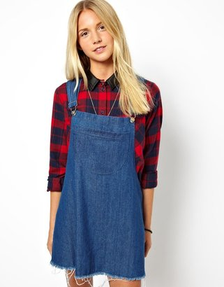 Asos Reclaimed Vintage Pinafore Dress in Denim Look