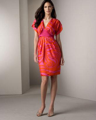 Chetta B Tie-Back Silk Dress