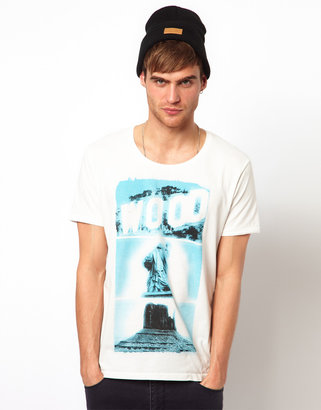 Selected T-Shirt with Wood Print
