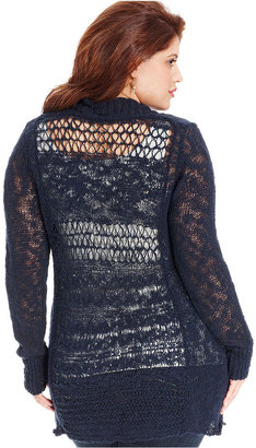 Lucky Brand Plus Size Sweater, Long-Sleeve Crochet-Back Cardigan