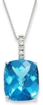 Macy's 14k White Gold Necklace, Blue Topaz (7 ct. t.w.) and Diamond Pendant