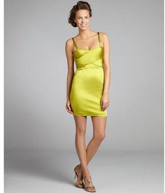 Vera Wang lime stretch satin overlay bodice sheath dress