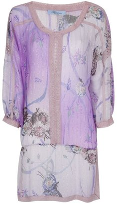 Blumarine lace trim printed blouse
