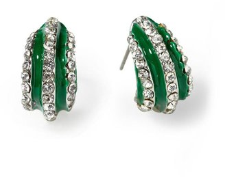 Pim + Larkin Green Enamel Crystal Stud Earring