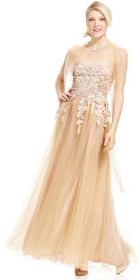JS Collections Dress and Shawl, Strapless Floral Evening Gown