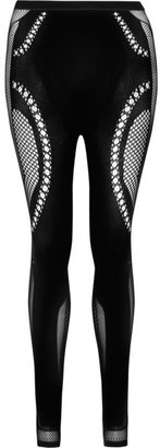 McQ by Alexander McQueen Open-knit paneled stretch leggings