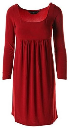 KamaliKulture Womens Matte Jersey U-Neck Casual Dress Red S