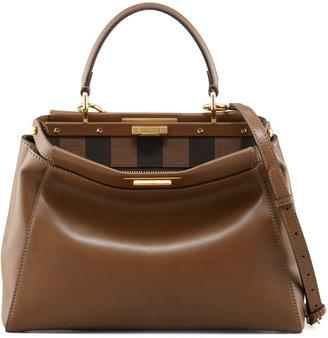 Fendi Peekaboo Pequin-Lined Medium Satchel Bag, Brown