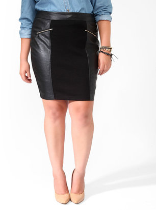Forever 21 Zipped Faux Leather Panel Skirt