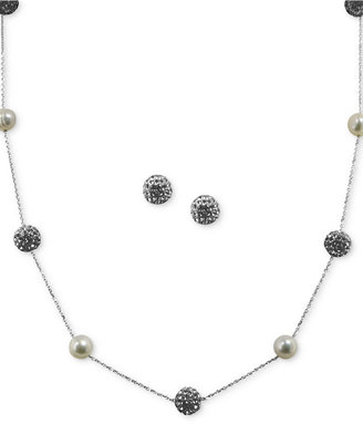 Honora Style Cultured Freshwater Pearl (7mm) and Crystal Station Jewelry Set in Sterling Silver