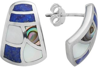 Sterling Silver Mother-of-Pearl, Lapis & Abalone Stud Earrings