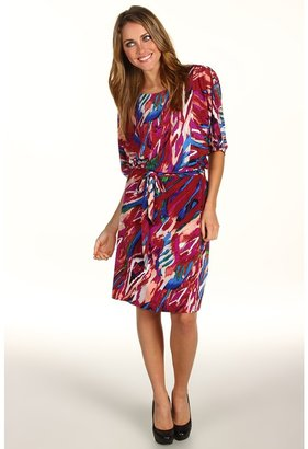 Suzi Chin for Maggy Boutique - Dolman Sleeve Blouson Dress (Candy Multi) - Apparel