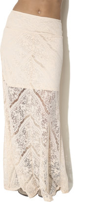Arden B Mitered Lace Maxi Skirt