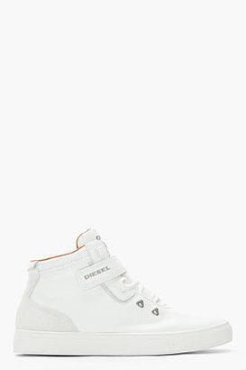 Diesel White Leather Groovy High Top Sneakers